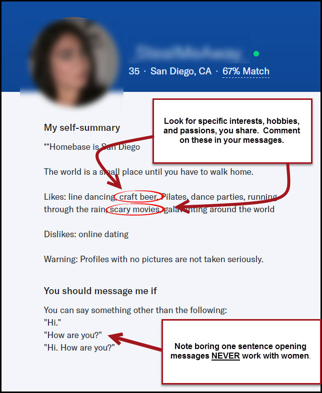 Example of first message on dating site